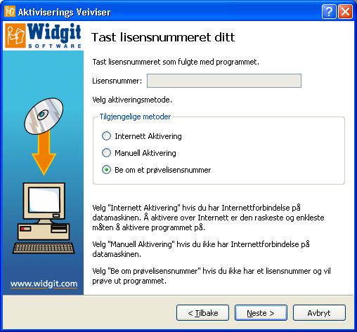 Aktivering av SymWriter Demo