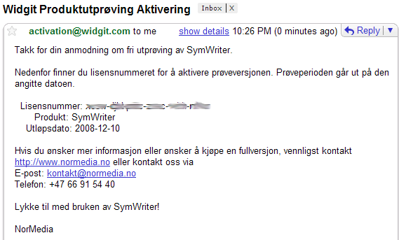 Aktivering av SymWriter Demo